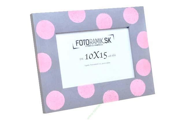 DR 10X15 4B-HM-PINK DOTS ON GREY